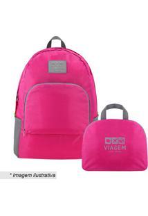 Mochila Dobrã¡Vel- Pink & Cinza- 30X13X42Cm- Jackjacki Design