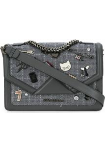 Karl Lagerfeld Bolsa Tiracolo K/Klassik Com Pins - Cinza