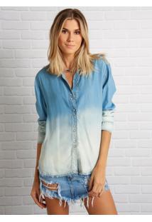 Camisa John John Degrade Azul Feminina (Jeans Medio, M)