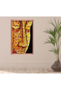 Quadro Love Decor Com Moldura Buddha Em Mosaico Rose Metalizado Grande