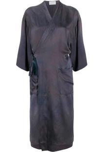 Tanaka Vestido Midi Envelope Tie-Dye - Azul