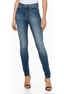 Calça Jeans Feminina Five Pockets Jegging Cintura Alta Azul Médio Calvin Klein - 44
