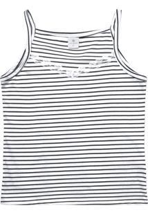 Blusa Lecimar Em Meia Malha Listrada Alto Verão Branco
