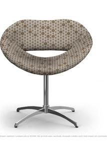 Cadeira Beijo Marrom Colmeia Poltrona Decorativa Com Base Giratória