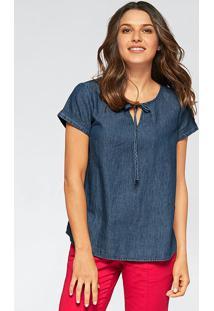 Blusa Jeans Manga Curta Azul Escuro