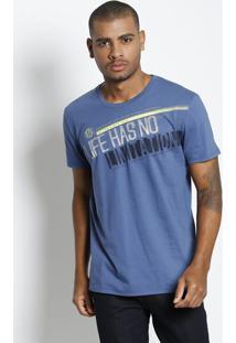 Camiseta ''Life Has No Limitation''- Azul Escuro & Pretatriton
