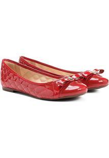 Sapatilha Couro Shoestock Matelassê Feminina - Feminino-Vermelho