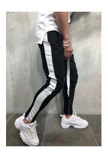 Calça Masculina Striped Slim Duas Cores - Preto E Branco