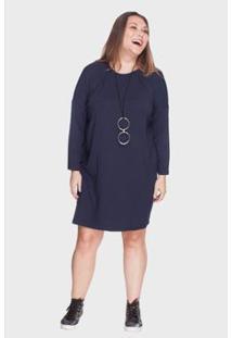Vestido Bold Recorte A Fio Plus Size Feminino - Feminino-Marinho