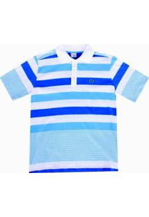 Camisa Pau A Pique Polo Listrada - Masculino-Azul