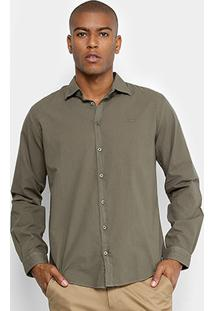 Camisa Colcci Básica Manga Longa Masculina - Masculino-Verde Escuro
