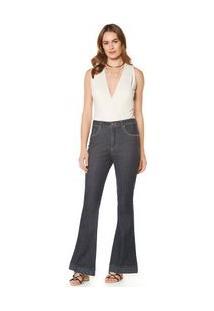 Calça Maria.Valentina Flare M. Victoria Cós Alto Com Nervuras Jeans