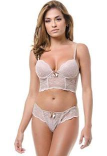Conjunto Lingerie Renda Liso Top Cropped Básico - Feminino-Nude