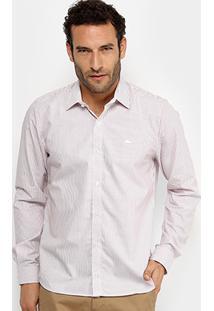 Camisa Listrada Lacoste Ml Regular Fit Masculina - Masculino-Rosa Claro