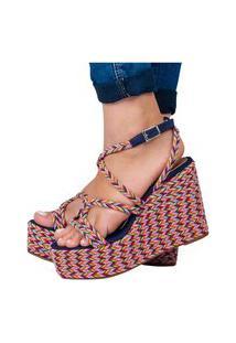 Sandália Feminina Sapato Anabela Salto Alto Confortável Leve Azul Eleganteria
