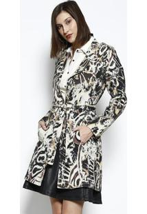 Casaco Texturizado Abstrato- Marrom & Bege- Dbz Jeandbz Jeans