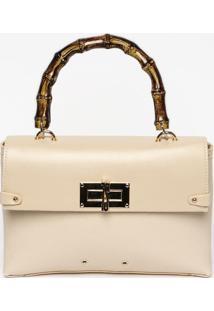 Bolsa Texturizada Com Ilhoses- Bege Claro & Dourada-Santa Lolla