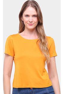 Blusa Cantão Basica Viscose Feminina - Feminino-Amarelo