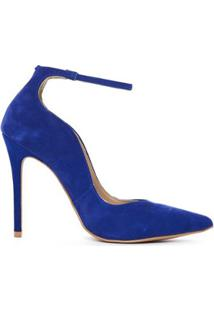 Scarpin Enydi Couro Feminino - Feminino-Azul