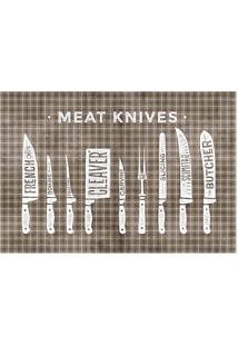 "Tapete Transfer ""Meet Knives""- Marrom & Branco- 60X4Tapetes Junior"