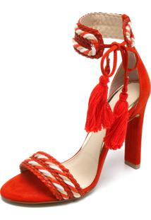 Sandália Di Cristalli Corda Vermelho