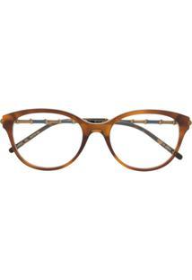 Gucci Eyewear Óculos De Sol Oversized Com Efeito De Bambu - Marrom