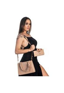 Kit Bolsa + Carteira Feminina Fashion Estilo Blogueira Bege