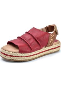 Sandália Flatform Scarpan Calçados Finos Em Couro Vermelha