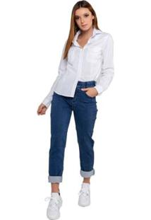 Camisa Tricoline Manga Longa Latifundio Feminina - Feminino-Branco