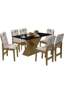 Conjunto De Mesa Com 6 Cadeiras Com Tampo Mdf Viena-Dobuê - Mel / Preto / Vermelho Floral