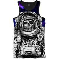 Camiseta Insane 10 Regata Caveira Astronauta No Espaço Sublimada Preto Roxo 97c308d92dd