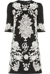 Dolce & Gabbana Vestido Jacquard Floral - Preto