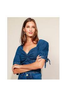 Blusa Jeans Feminina Cropped Com Lastex Manga Bufante Decote Coração Azul Escuro