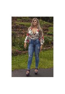Calça Donna Dyony Skinny Com Cinto Modelador-Jeans Médio