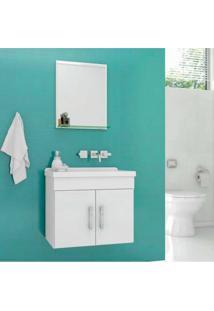 Gabinete Para Banheiro Chow 46X31X51Cm Com Lavatório E Espelheira Branco Cerocha