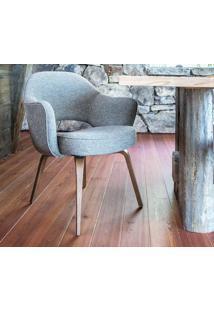 Cadeira Saarinen Executive Madeira (Com Braços) Tecido Sintético Cinza Escuro Dt 0102362648