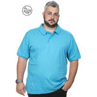 Camiseta Polo Plus Size Bigshirts Lisa Azul Piscina 7cecd086f10e6