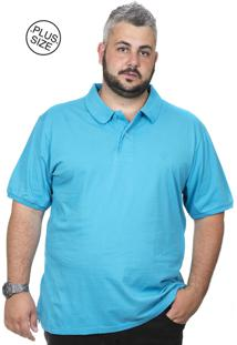 Camiseta Polo Plus Size Bigshirts Lisa Azul Piscina
