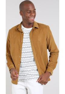 Camisa Masculina Comfort Em Veludo Cotelê Manga Longa Mostarda