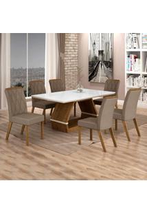 Conjunto Sala De Jantar Mesa Tampo De Vidro Branco 6 Cadeiras Esmeralda Leifer Ypê/Off White/Camurça