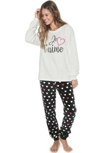 Pijama Any Any Branco/Preto