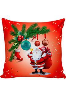 Capa De Almofada Papai Noel- Vermelha & Verde- 45X45Stm Home
