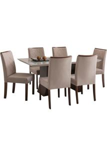 Conjunto Sala De Jantar Mesa E 6 Cadeiras Delazari Canadá, Imbuia - 139048