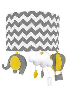 Arandela Meia Lua Elefante Balão Cinza Quarto Bebê Infantil Menino Menina