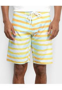 Bermuda D'Água Colcci Listrada Masculina - Masculino-Verde+Amarelo