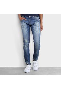 Calça Jeans Skinny Biotipo Bolso Sarja Costura Joelho Masculina - Masculino-Azul