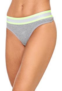 Calcinha Calvin Klein Underwear Fio Dental Canelada Cinza/Verde