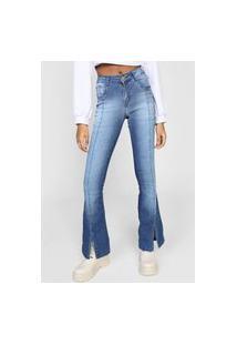 Calça Jeans Forever 21 Flare Fendas Azul
