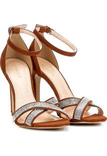 Sandália Couro Shoestock Salto Fino Shine Feminina - Feminino