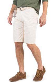 Bermuda Flex Chino Taco Masculina - Masculino-Off White